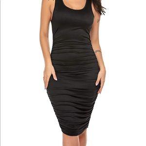 Midi Bodycon Ruched Black Racerback dress